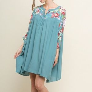 Umgee Floral Detail Flowy Dress or Tunic